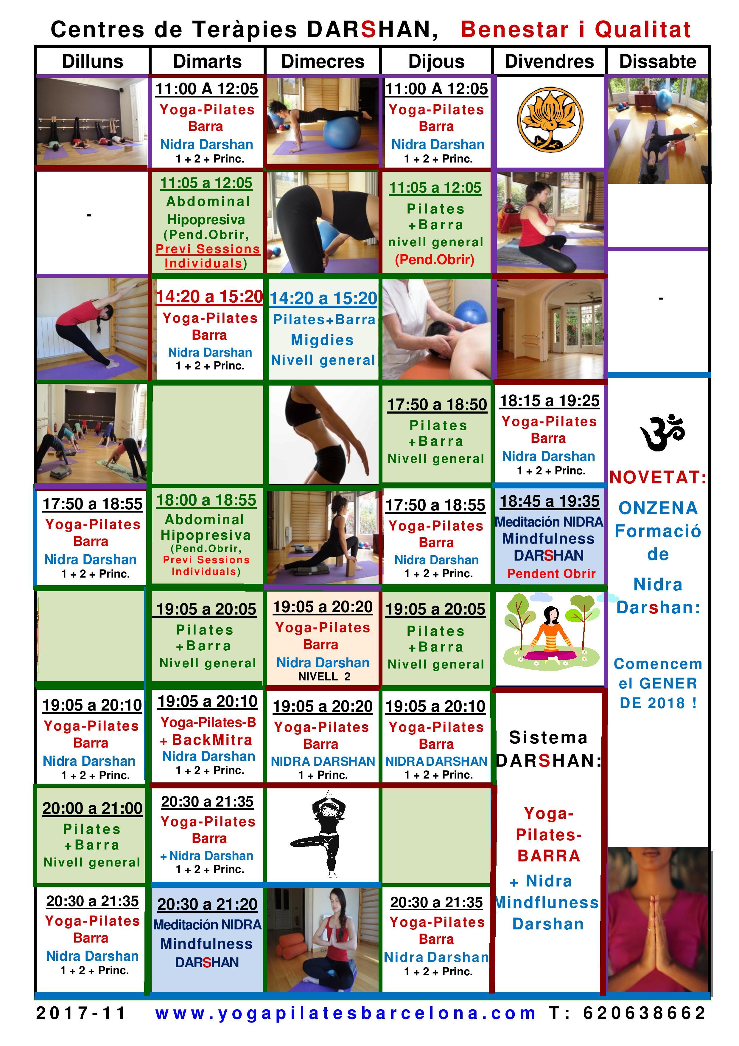 horarios yoga pilates yoga nidra sistema darshan barcelona